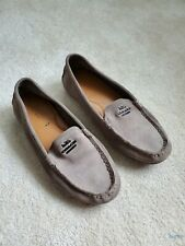 Coach Shoes flats suede leather slip-on size 8 B metal logo Beige