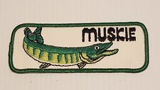 """1970's / 1980's MUSKIE FISH FISHING 5"""" x 2"""" VINTAGE EMBROIDERED PATCH"""