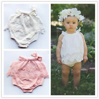 Baby Girl Toddler Newborn Double Lace Cotton Vintage Romper One-piece Outfit