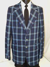 NOS New Vtg 70's Men MoD Jacket BLUE SHADOW PLAID Sport Coat RETRO Blazer 42 XL