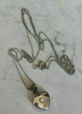 Vintage 9ct White Gold & Cubic Zirconia Love Heart Pendant & Chain length 44cm