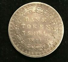 1811 George III Bank Token Three Shillings Silver. Great Britain UK Coin