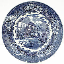 Vintage Royal Tudor Ware Coaching Taverns Inns Blue White Dinner Plate