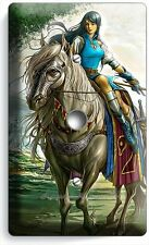 WARRIOR GIRL ON WILD HORSE LIGHT DIMMER VIDEO CABLE WALL PLATE COVER BEDROOM ART