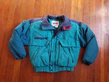 Vintage Obermeyer Mens Goose Down Ski Jacket Full Zip Hooded Blue Size Large VTG