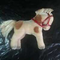 """Vintage Steiff Pinto Pony Horse Mohair Red Bridle No Ear Button No eyes Blind 8"""""""