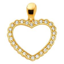 Charm Beaded Open Fancy 17 x 15 mm Heart Pendant Cz Solid 14k Yellow Gold Love