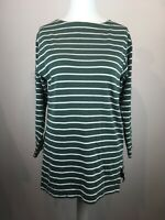 Vintage Laura Ashley Woman Stripe Cotton Tunic T-shirt Green Size M Long Sleeve