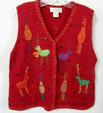 Susan Bristol XL Christmas Sweater Vest ALIEN REINDEER Whimsical Critters