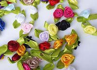 50X Satin Ribbon Rose Bud Flower Applique Embellishments -{[ Buy 3 Get 3 Free]}-