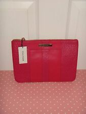 6fd0fa065d COLE HAAN Womens LG Pouch Clutch Cosmetic Bag Wallet Hot Pink Leather Gold  Logo