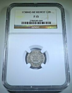 NGC F15 1738 Mexico Silver 1/2 Reales Antique Spanish Colonial 1700s Pirate Coin