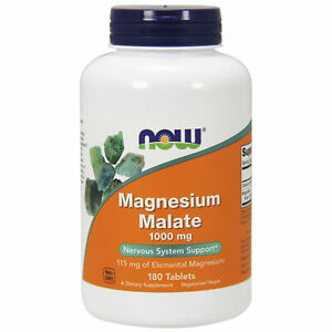 Now Foods Magnesium Malate, 1000 mg,180Tablets, Nervous System Support