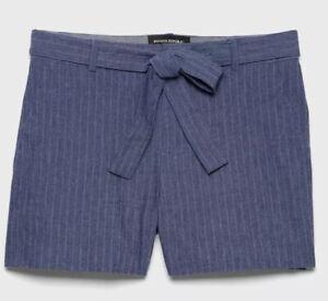 Banana Republic NEW Tie Waist Chambray Linen Blend Stripe Shorts 14 Dressy NWT
