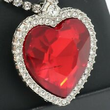 Sparkling Heart Shaped Red Ruby Necklace Women Jewelry 14K White Gold Plated