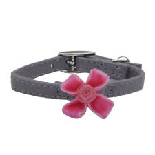 "COASTAL SAFE CAT LIL PALS GREY PINK SUEDE BOW BELL 6-8"" COLLAR. FREE SHIP TO USA"