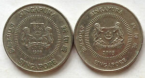 Singapore 2nd Series 2 pcs 10 cents coin (1989 & 2005)