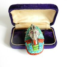 Vintage Fire Opal Coral Turquoise Egyptian Pharoah Pendant Sterling Silver