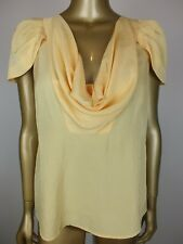 CUE BLOUSE TANK CAMI TOP YELLOW COWL NECK SHIRT - SUIT FORMAL CAREER - 12