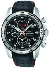 Seiko Men's Sportura Silver Tone Alarm Chronograph Leather Strap Watch SNAE65