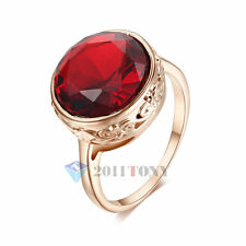 18K Rose Gold Plated Use Swarovski Crystal Simulated Ruby Fashion Cocktail Rings
