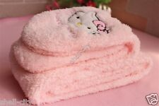 Cute Kitty bow Pink Soft Plush Scarf & Gloves
