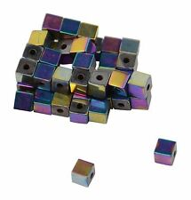 40 x Magnetic AB Hematite Gemstone Craft Beads - 4mm Cube 37887-29