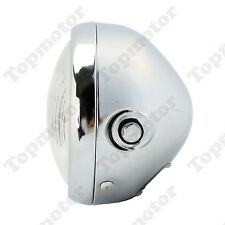 """Universal 6 1/2"""" Motorcycle Headlight Lamp 35W Cafe Racer Custom Chrome Clear (Fits: Bourget's Bike Works)"""