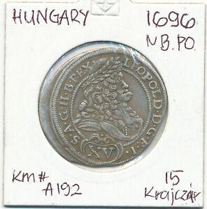 LEOPOLD I. (1657-1705) Hungary,Nagybanya,Silver 15 Krajczar. !695 NB-PO