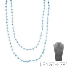 """72"""" Long 8mm Glass Knotted Light Blue Wrap Around Necklace"""
