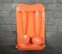 Vintage French orange enamel utensil rack drip tray ladle and sieve kitchenalia