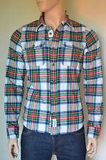 NUOVO Abercrombie & Fitch LAGO Harris Flanella Camicia bianca a quadretti M