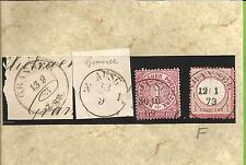 Preußen / GRANSEE K 2 1863 + K1 AUSG N1 auf 2 Blanko-Briefstücken, je K2 auf NDP
