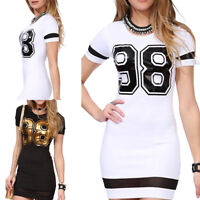 Women Letter Print Short Sleeve Dress Casual Slim Sport Party Top Dresses S- gx