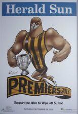 "AFL HAWTHORN HAWKS HERALD SUN WEG 2013 PREMIERS POSTER ""LICENSED"" BRAND NEW"