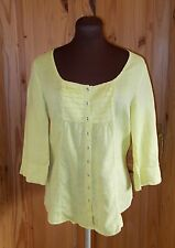 JAEGER lime-yellow chartreuse LINEN 3/4 sleeve blouse tunic top holiday 12 40