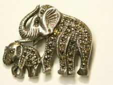🍁 Vintage Elephant Family Sterling Silver Brooch Pin #2856