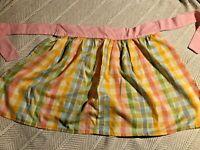 vintage pastel rainbow plaid half apron handmade pink Yellow EUC