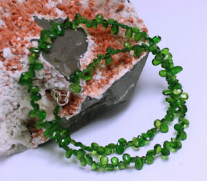Chromdiopsid Necklace Precious Stone Faceted Green Drop Noble ca.45 CM