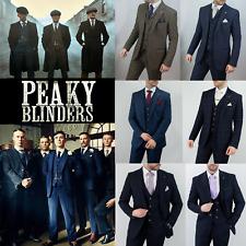 Mens Tweed Check Herringbone Pin Stripe Peaky Blinders Tailored Fit 3 Piece Suit