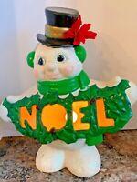 Vintage Christmas Frosty Snowman NOEL Light Figurine Ceramic Mold Glitter