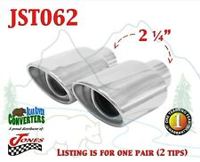 """JST062 PAIR 2.25"""" Stainless Oval Exhaust Tips 2 1/4"""" Inlet 4 1/2"""" Outlet 7"""" Long"""