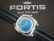 VINTAGE FORTIS TU-TONE SILVER BLUE NEW OLD STOCK STAINLESS STEEL 17 JEWEL WATCH