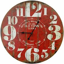 "Vintage Wall Clock Rustic Red Weathered Antique Look 23"" Round Wood Face Large"