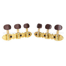 Classical Guitar Tuner Tuning Pegs Machine Heads Brown Button Gold