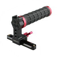 CAMVATE Top Handle Grip Cold Shoe 100mm NATO Rail RED fr DSLR Camera Cage Rubber