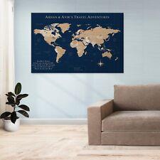 World Travel Canvas Map Modern Contemporary Home Decor Kids Room