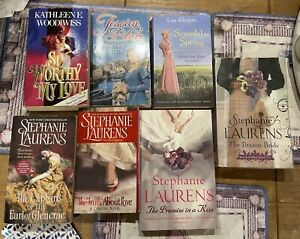 7 X HISTORICAL ROMANCE SAGA BOOKS BY STEPHANIE LAURENS,KATHLEEN E. WOODIWISS ETC