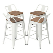 """Set of 4 Metal Bar Stool 24"""" Counter Stools Low Back Barstool Wooden Seat White"""