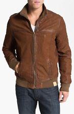 BNWT Scotch & Soda Leather Bomber Jacket Brown Size XL